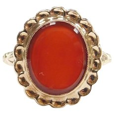 Edwardian Carnelian Ring with Scalloped Halo 10k Gold