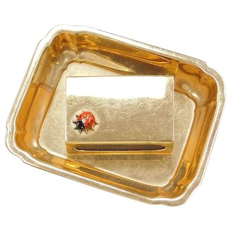 CARTIER Designer Match Box with Ladybug & Tray Solid 14k Gold ~ 61.4 Grams