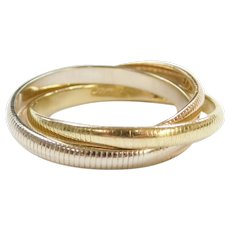 Cartier Designer 18k Gold Trinity Rolling Ring