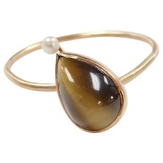 Edwardian 14k Gold Brown Cats Eye and Seed Pearl Ring ~ Converted Stick Pin