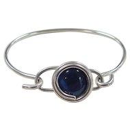 Vintage Sterling Silver Blue Cats Eye Bangle Bracelet