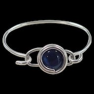 Vintage Sterling Silver Blue Cats Eye Bangle Bracelet