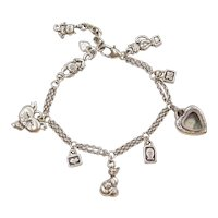 "Sterling Silver Cat Lovers Charm Bracelet 7 1/2"" - 8 3/4"""