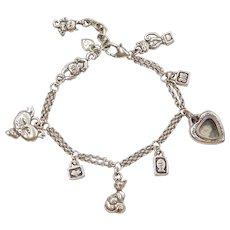 "Sterling Silver Cat Lovers Charm Bracelet 7 1/2"" - 8 3/4"""