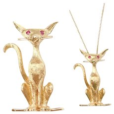 Adorable Cat Pendant / Pin with Ruby Eyes 14k Gold