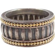 Caviar Designer Sterling Silver and 18k Gold Wide Band Ring