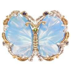 Sterling Silver Big Blue Chalcedony Butterfly Ring With Sapphire Accents and Gold Plated Design