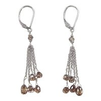 Vintage 14k White Gold Chocolate Diamond Dangle Earrings