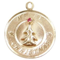 14k Gold Merry Christmas Charm with Ruby Red Paste 1962