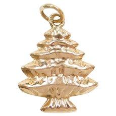 14k Gold Puff Christmas Tree Charm