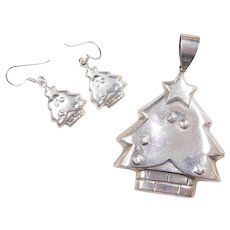 Sterling Silver Christmas Tree Set ~ Pendant and Dangle Earrings