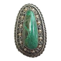 Vintage Sterling Silver Chrysocolla and Pearl Pendant or Brooch / Pin