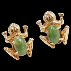 Vintage 14k Gold Chrysoprase Frog Stud Earrings