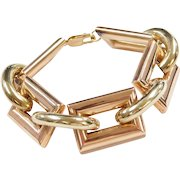 """Chunky 43.7 Grams Yellow and Rose Gold Rectangle Link Bracelet 14k ~ 8 1/4"""" ~ Two-Tone ~ Wide"""