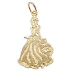 14k Gold Disney Princess Cinderella Charm