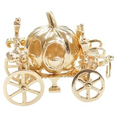 14k Gold Cinderella Pumpkin Carriage Charm with Moving Wheels!
