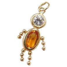 Vintage 14k Gold November Birthstone Boy Charm ~ Faux Diamond, Faux Citrine
