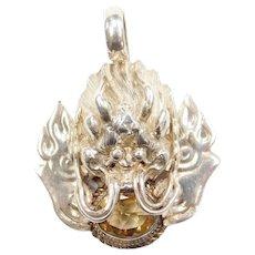 Nepal Sterling Silver Citrine Dragon Pendant