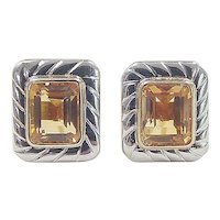 Vintage 18k Gold Two-Tone 4.50 ctw Citrine Stud Earrings