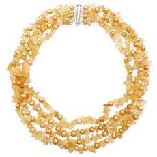 """17"""" Citrine and Cultured Pearl 4 Strand Necklace Sterling Silver"""