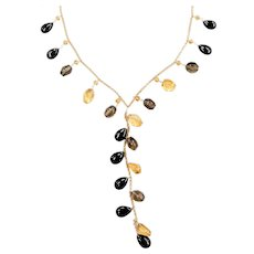 "16"" 14k Gold Citrine, Smoky Quartz and Onyx Lariat Necklace"