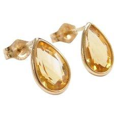 Vintage 14k Gold 2.60 ctw Teardrop Citrine Stud Earrings