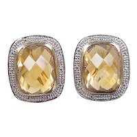 Vintage 14k Gold Two-Tone 11.12 ctw Citrine Earrings ~ Samuel Benham Collection