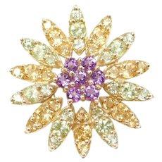 10k Gold Amethyst, Peridot and Citrine Starburst Pendant