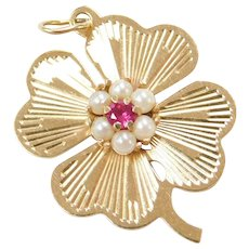14k Gold Four Leaf Lucky Clover Charm, Seed Pearls and Created Ruby ~ 1970's ~ Amulet