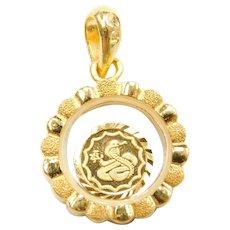 24k Baht Gold Floating Cobra Snake Coin Pendant