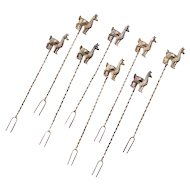 Sterling Silver 8 Piece Llama Cocktail Forks