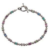 Vintage Sterling Silver Colorful Bead Bracelet