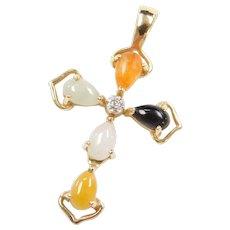 Vintage 14k Gold Colorful Jade and Diamond Cross Pendant