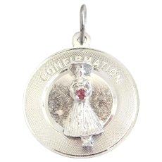 Sterling Silver Rhodolite Garnet Confirmation Charm