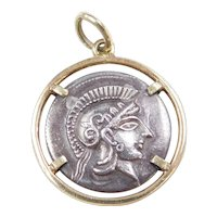 Vintage 14k Gold and Silver Owl Of Athens Coin Charm ~ Copy