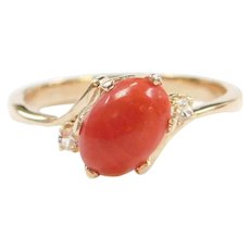 14k Gold Coral and Diamond Ring