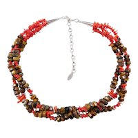 """Sterling Silver Red Coral Branch and Brown Tigers Eye Multi-strand Beaded Necklace ~ 17"""" - 21"""""""