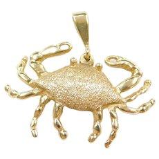 Large 14k Gold Crab Pendant / Charm