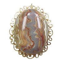 Vintage 14k Gold Crazy Lace Agate Pendant or Pin / Brooch