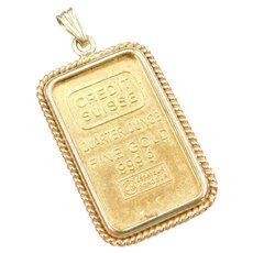 14k & 24k Gold Credit Suisse Quarter Ounce Bar Pendant ~ Fine Gold 999.9