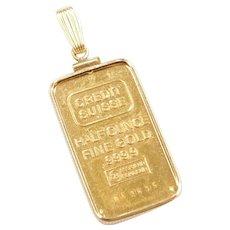 Fine Gold Half Ounce Credit Suisse Pendant 14k Gold Frame