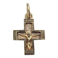 Vintage 14k Gold Crucifix Cross Charm / Pendant