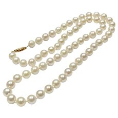 "18 1/2"" Cultured Pearl Princess Length Strand Necklace 14k Gold Filigree Clasp"