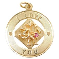 14k Gold I Love You Cupid Charm ~ Bow and Arrow ~ Created Ruby Accent