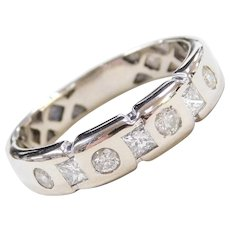 Custom 14k White Gold Men's .90 ctw Diamond Wedding Ring