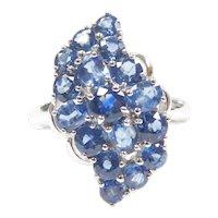 Cornflower Blue Sapphire 2.89 ctw Cluster Ring 10k White Gold