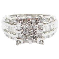 Diamond 1.10 ctw Square Top Ring 10k White Gold