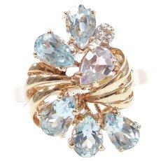 Aquamarine and Diamond 2.41 ctw Ring 10k Gold