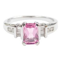 Pink Sapphire and Diamond 1.30 ctw Ring 10k White Gold