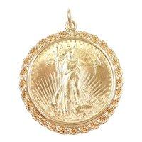 1924 $20 Saint Gaudens Coin Pendant 14k and 22k Gold